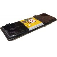 Diedzēšanas kasete 47x16cm + 18 podiņi (melni) ar pārsegu (2gab)