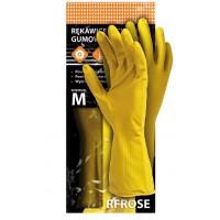 Cimdi gumijas dzelteni M izm