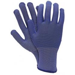 Cimdi poliestera ar mikro punkt. vienā pusē 10 izm zili